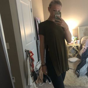 Olive green split bottom t shirt